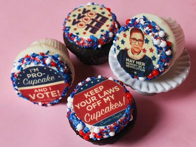 """Add some flair to your debate viewing with election-themed cupcakes from <a href=""""https://everout.com/search/?q=cupcake%20royale"""">Cupcake Royale</a>."""