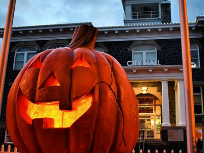 """Recognize this iconic pumpkin? It'll greet you at <a href=""""https://www.portlandmercury.com/events/29220698/spirit-of-halloweentown"""">Spirit of Halloweentown</a>, the St. Helens attraction that takes its cues from the Disney Channel classic."""