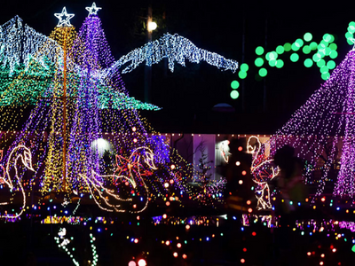 """Take in dazzling scenes, holiday music, and fresh, hot mini donuts from the safety of your car at Stanwood's <a href=""""https://everout.com/stranger-seattle/events/the-lights-of-christmas/e38876/"""">Lights of Christmas</a> drive-through."""