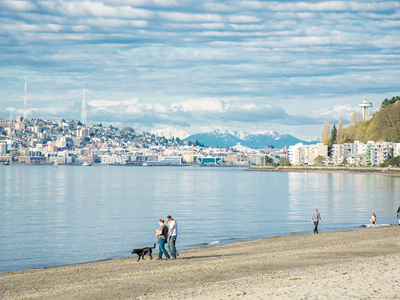 "Would you look at this display of social distancing on <a href=""https://everout.com/locations/alki-beach/l27456/"">Alki Beach</a>? The West Seattle park boasts plenty of walking space, plus great views of the Puget Sound and the Olympic Mountains."