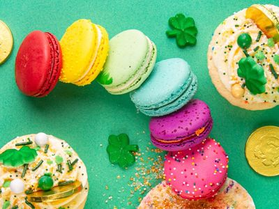 """Follow the end of the rainbow to discover <a href=""""https://everout.com/stranger-seattle/search/?q=trophy%20cupcakes"""">Trophy Cupcakes</a>' magically delicious macarons and cupcakes for St. Patrick's Day."""