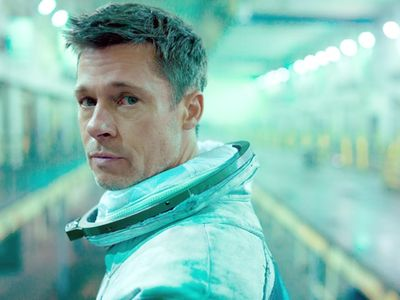 """Awe-inspiring space sights are a background to sad Brad Pitt in <i><a href=""""https://everout.thestranger.com/movies/ad-astra/A22491"""">Ad Astra</a></i>."""