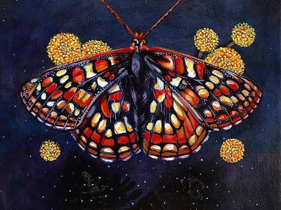 """Angelita Martinez's autumn-hued """"Quino Checkerspot"""" is one of the endangered butterflies depicted in the group show <em><a href=""""https://www.thestranger.com/events/40909159/red-list-moths-and-butterflies"""">Red List</a></em>."""