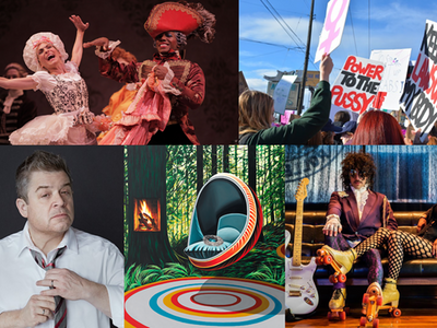 """A snapshot of the month! Clockwise from top left: Pacific Northwest Ballet's <a href=""""https://www.thestranger.com/events/41687326/cinderella""""><i>Cinderella</i></a>, the <a href=""""https://www.thestranger.com/events/42033270/womxns-march-on-seattle-2020"""">Womxn's March on Seattle</a>, Purple Mane at <a href=""""https://www.thestranger.com/events/40718482/timbrrr-winter-music-festival-2020"""">Timbrrr! Winter Music Festival</a>, Nicole Gordon's painting series <a href=""""https://www.thestranger.com/events/41381760/nicole-gordon-altered-states""""><i>Altered States</i></a>, and <a href=""""https://www.thestranger.com/events/42229553/patton-oswalt-i-love-everything"""">Patton Oswalt</a>."""