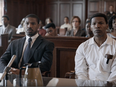 """Michael B. Jordan and Jamie Foxx depict the lawyer Bryan Stevenson and the falsely condemned Walter McMillian in <em><a href=""""https://everout.thestranger.com/movies/just-mercy/A24354/"""">Just Mercy</a></em>."""