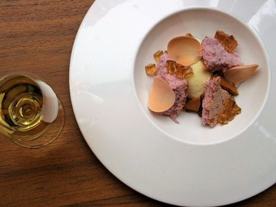 """This Valentine's Day, skip the bouquet in favor of a floral dessert, with violet sponge, chamomile gelee, rose chocolate petals, honey brittle, and orange blossom ice cream, at <a href=""""https://www.thestranger.com/events/42750974/heartwood-provisions-valentines-day"""">Heartwood Provisions</a>."""