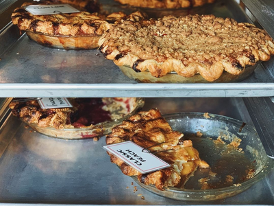 """Savor the flavors of summer in a peach pie from <a href=""""https://everout.com/portland-mercury/locations/lauretta-jeans/l20169/"""">Lauretta Jean's</a>."""