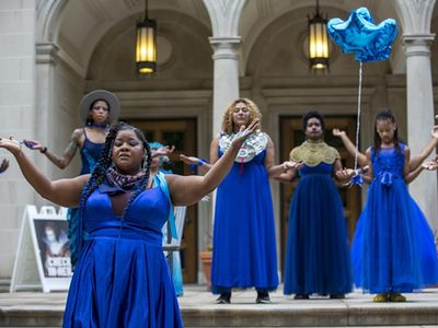 """Experience vanessa german&rsquo;s THE BLUE WALK as part of the <a href=""""https://everout.com/portland/events/time-based-art-tba-festival/e103509/"""" target=""""_blank"""" rel=""""noopener"""">Time-Based Art Festival (TBA).</a>"""