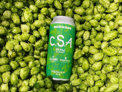 """<a href=""""https://everout.com/seattle/locations/matchless-brewing/l14309/"""">Matchless Brewing</a>'s """"Community Supported Agriculture"""" fresh hop ale is made exclusively with hops and malts grown in Washington."""